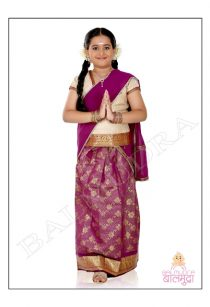 Beautiful Small girl Wearing Indian Traditional Sari Shoot done in Balmudra Studio Pune