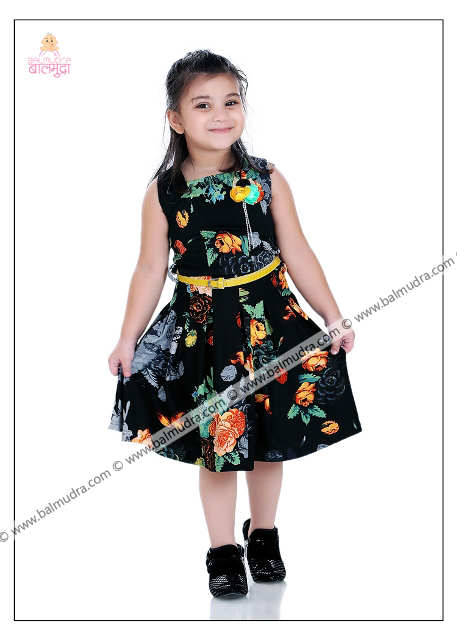 4 Years Indian Girl in Black Dress Professional Portfolio Photo Session in Balmudra Studio Pune