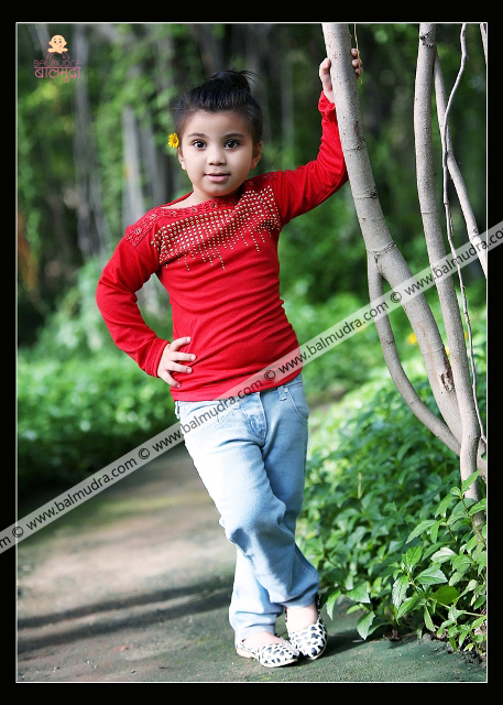 Four Years Cute Girl Smiling during her Outdoor Photo Shoot Professional Photo Session done in Balmudra Studio Pune