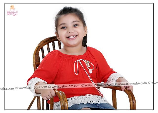 Four Years Indian Cute Girl Smiling Professional Portfolio Photo Session in Balmudra Studio Pune