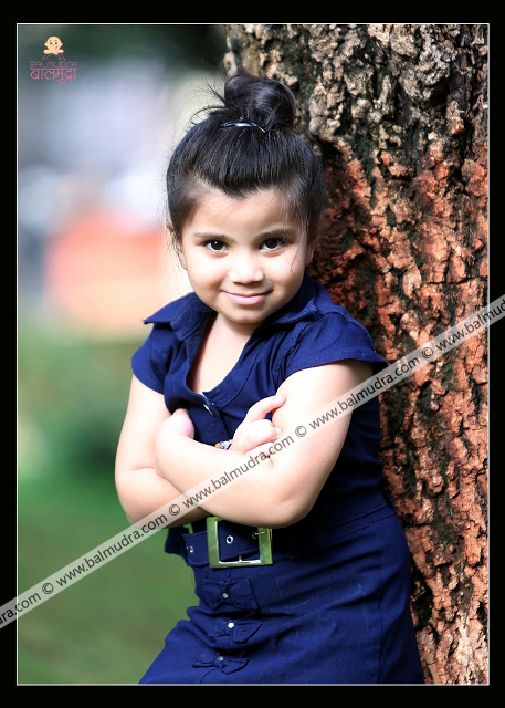 Four Years Indian Cute Girl Smiling during her Outdoor Photo Shoot Professional Photo Session done in Balmudra Studio Pune
