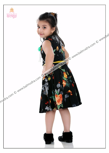 Four Years Indian Cute Girl in Black Dress Professional Portfolio Photo Session in Balmudra Studio Pune