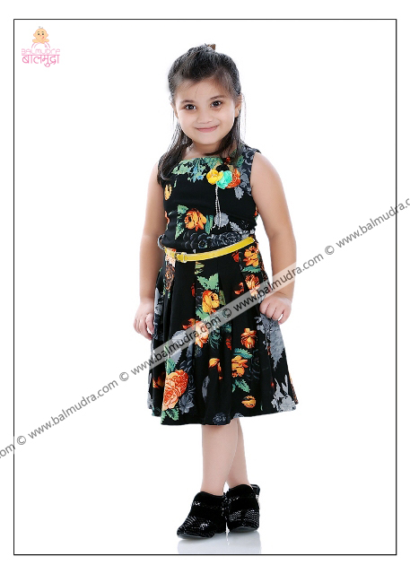 Four Years Old Indian Cute Girl in Black Dress Professional Portfolio Photo Session in Balmudra Studio Pune