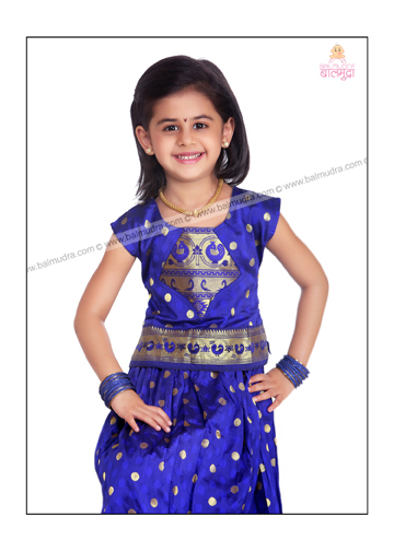 Baby Girl Wearing Blue Parkar Polke , Posing for Camera in Balmudra Studio Pune.jpg